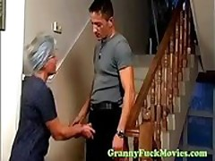 Granny interested in young cock