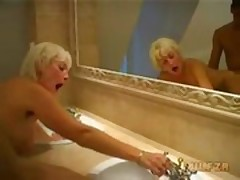 Old mother fucked by son in bathtub
