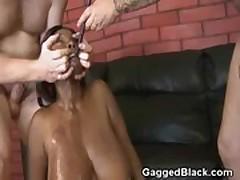 Black Ghetto Slut Force Fed White Cock And Choking