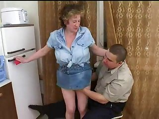 Russian mother with big tits and her fat boy