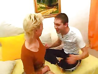 Blonde mature unleashed her boy