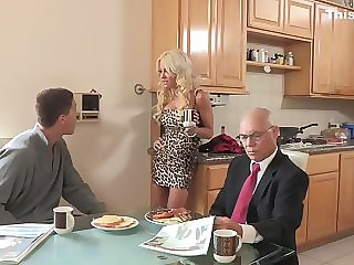 Cheating blond mom bangs for breakfast