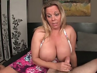 Busty blonde handjobs young dick