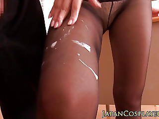 Reiko wanking off cock