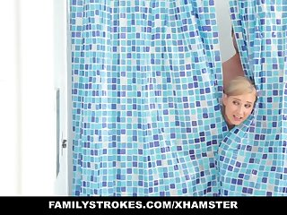 Blonde Milf Fucks Step-Son In Shower