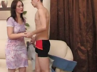 hot russian mature doing stiff cock
