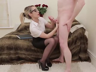 Nerdy Office Babe Sucking