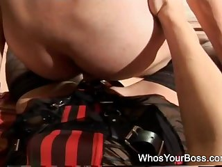 Mistress uses entire strapon