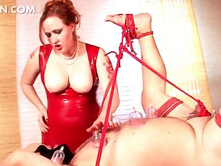 Mistress ropes sex slave and tortures him
