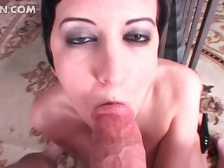 Sexy ball busting slut biting schlong in POV