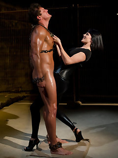 <!–-IMAGE_COUNT-–> of The mistress humiliated a chained slaveboy