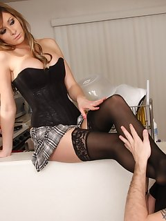 <!–-IMAGE_COUNT-–> of Heather sits on top and gets her sexy stockings worshipped