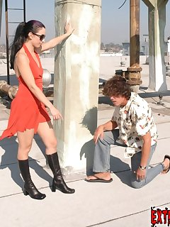 16 of Slave licked dirty boots outdoor