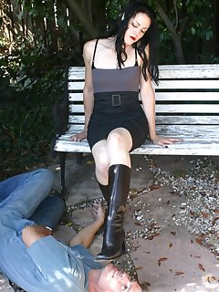 <!–-IMAGE_COUNT-–> of Malesub licks boots and get trampled by them outdoor