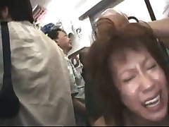 Japanese schoogirl gangbanged in the subway
