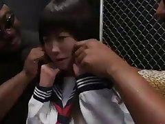 Cute Asian schoolgirl gangbang by black guys