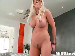 Sexy blonde milf gone crazy showing her boobs