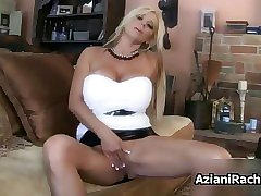 Busty blonde babe gets horny didlo
