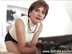 Stocking milf Lady Sonia handjob till the cumshot
