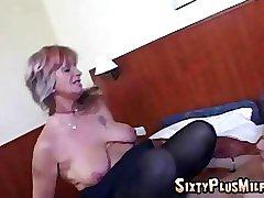 Hardcore pussy fucking grandma does her thing